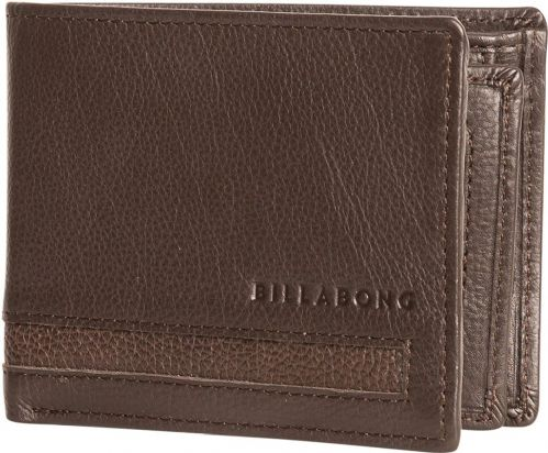 REDUCED BILLABONG MENS WALLET.EMPIRE REAL LEATHER BROWN SNAP MONEY PURSE S20F